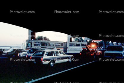 Articulated Bus trying to turn around, Mayhem, Loma Prieta Earthquake (1989), 1980's