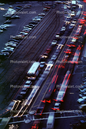 Cars in a Traffic Jam on the Embarcadero, Loma Prieta Earthquake (1989), 1980's