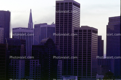 Dark Buildings, power outage, downtown San Francisco, Loma Prieta Earthquake (1989), 1980's