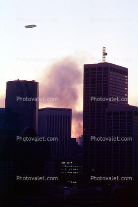 Goodyear Blimp over the Marina Fire, the Embarcadero with smoke from the Marina fire, Loma Prieta Earthquake (1989), 1980's