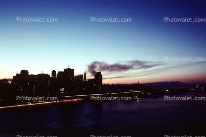 the Embarcadero with smoke from the Marina fire, Loma Prieta Earthquake (1989), 1980's
