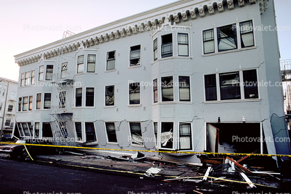 Cracked Collapsed Building, Marina District, Loma Prieta Earthquake (1989), 1980's