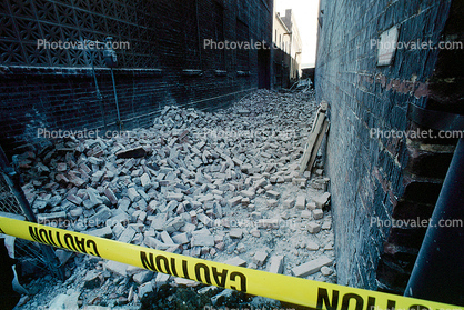 Collapsed Walls, Bricks, south of Market, SOMA, Loma Prieta Earthquake (1989), 1980's
