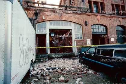 Fallen Bricks, south of Market, SOMA, Loma Prieta Earthquake (1989), 1980's