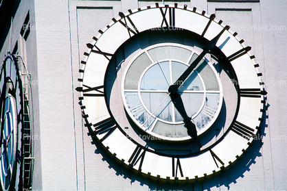 The Clock Stops, Loma Prieta Earthquake, (1989), 1980's, outdoor clock, outside, exterior, building, roman numerals