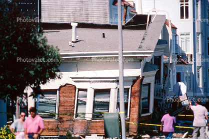 Collapsed Victorian House, Marina district, Loma Prieta Earthquake (1989), 1980's
