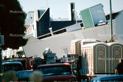 Collapsed Victorian House, Portable Toilets, Marina district, Loma Prieta Earthquake (1989), 1980's