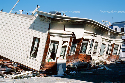 Crushed Car, Collapsed Victorian Home, Marina district, Loma Prieta Earthquake (1989), 1980's