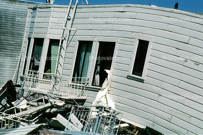 Collapsed Home, Marina district, Loma Prieta Earthquake (1989), 1980's