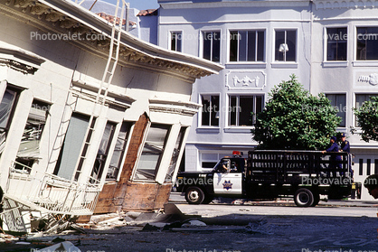 Police Truck, Collapsed Home, Marina district, Loma Prieta Earthquake (1989), 1980's