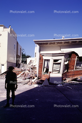 Collapsed Victorian, Marina district, Loma Prieta Earthquake (1989), 1980's