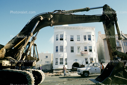Destroyed Buildings, Tractor, Marina district, Loma Prieta Earthquake (1989), 1980s