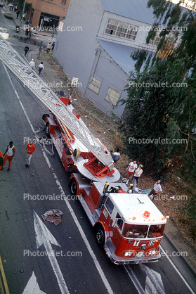 Aerial Ladder Fire Truck, Cypress Freeway pancake collapse, Loma Prieta Earthquake, (1989), 1980's