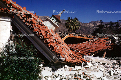 Spanish Tile Roof Bricks Destroyed Buildings 1971 San