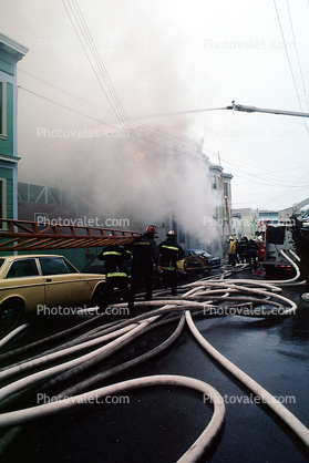 Hose, car, smoke, Mission District, San Francisco