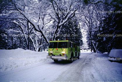 Fire Engine, snow, ice, cold, trees, forest, woodland, road