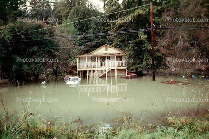 Flooded Building, Home, House, Balcony, Car, Guerneville