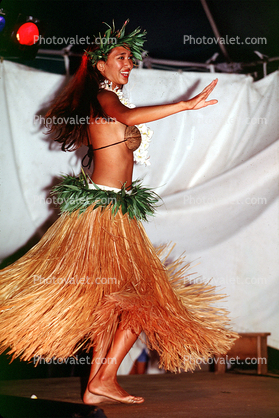 Woman, Lei, grass skirt, native, coconut bra, People, Hawaiian, Hula