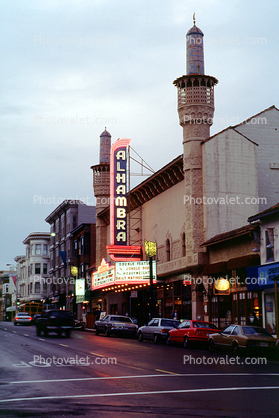 Polk Street, Alhambra Theatre, marquee, building