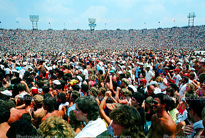 Audience, People, Crowds, JFK Stadium, Live Aid Benefit Concert, 1985, Philadelphia, Spectators, 1980's