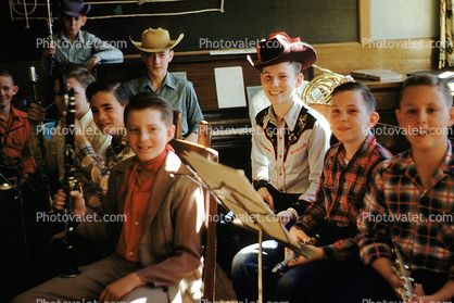 Cowboy Band, Clarinet, boys, hats, male, piano, music stand, 1950's