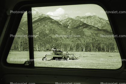 Hay Swather, Snake River Ranch, Teton Mountain Range, Windrower