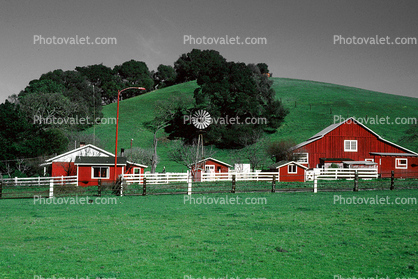 wood barn, white picket fence, outdoors, outside, exterior, rural, building, architecture, Eclipse Windmill, Irrigation, mechanical power, pump,