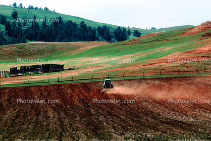 Tractor and Plow, Plowing, Farmer, Dust, Field, Dirt, soil