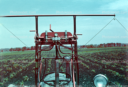 pov from tractor, Pesticide applications, 1940's, Herbicide, Insecticide