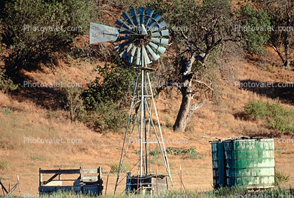 Water Tank, storage, Oak Trees, Eclipse Windmill, Irrigation, mechanical power, pump, Dirt, soil