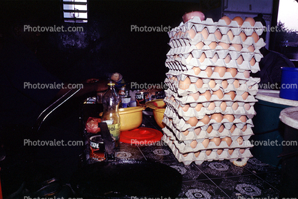 Eggs stacked