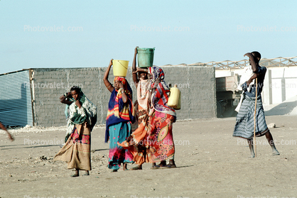 Women and Girls Carrying Water, Refugee Camp, Somalia