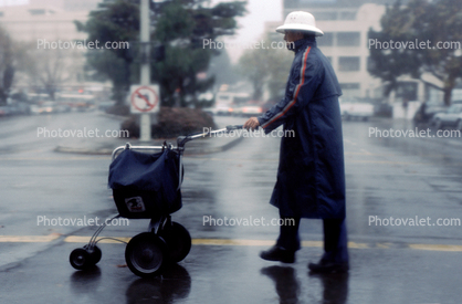 Postman, Rainy, rain, crosswalk, hat, cart, Commerical-shipping