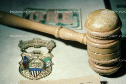gavel, badge
