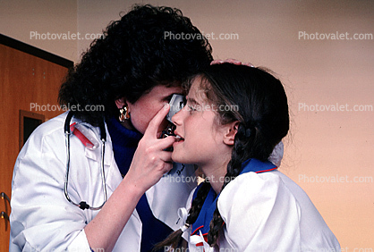 Doctor and girl patient, eye examination, exam, female, woman