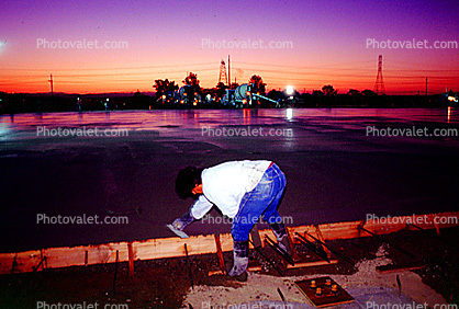 cement pour for a large warehouse floor, early morning, Twilight, Dusk, Dawn