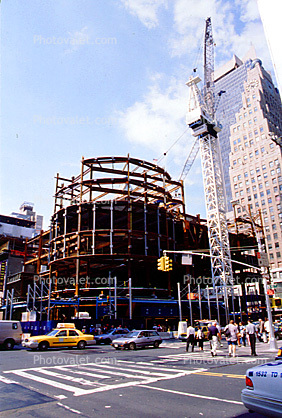 Steel Frame, Luffing tower Crane, taxi cab, cars, traffic