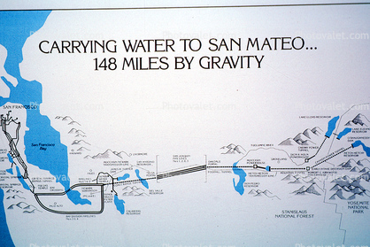 Hetch Hetchy Aqeduct System, Aquaduct, Map