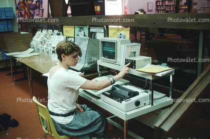 Girl, Student, High School, Library Study, Macintosh Computer, monitor, printer, Apple IIC, Floppy Drive