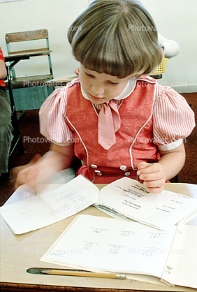 Girl Reading, studying, desk, classroom, Student