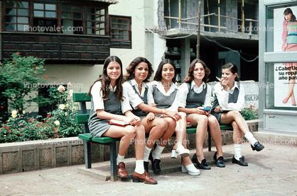 Teen Schoolgirls Smiles Smiling Uniforms
