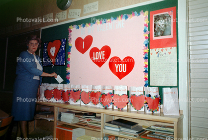 Teacher, bags, hearts, Classroom, 1960's
