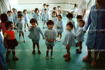 Girls, Boys, Uniform, dress, pants, Preschool, 1974, 1970's
