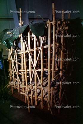 Prisoner Cage to Hold American Pilots shot down over North Vietnam, bamboo prison, POW cage, Vietnam War