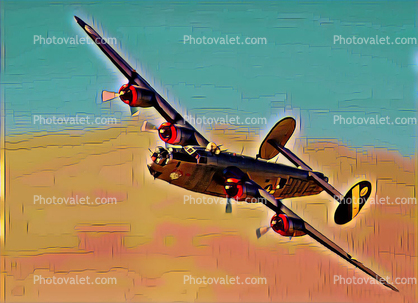 B-24 Liberator flying, bombing run