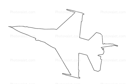 Lockheed F-16 outline, line drawing, shape