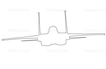 McDonnell Douglas, F-15 Eagle outline, line drawing, shape