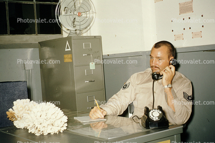 Midway Island NAS, Dial Phone, File Cabinet, Fan, Coral Decoration, Uniform, Mustache, 1950's