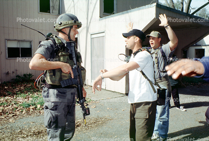 arresting local people, soldier, Operation Kernel Blitz, M16 Rifle, urban warfare training, Troops