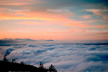 Mount Fuji, volcano, Fog, Clouds